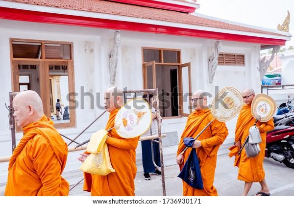 Bangkok, Thailand - January, 2020: Wat Chana Songkhram Rachawora Mahawiharn Temple Monks Bangkok, Thailand