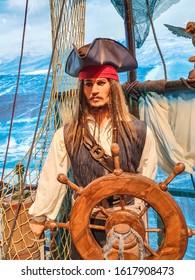 Bangkok, Thailand, January 2020 wax figure of Johnny Depp as Jack Sparrow at wax museum Madame Tussauds
