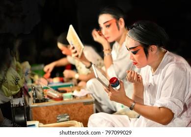 Bangkok, Thailand - January 21, 2015 : Actor make up for the performance Chinese opera. Chinese opera is an ancient drama musical way in China Town at Yaowarat district Bangkok, Thailand.