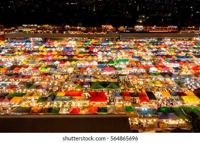 Bangkok, Thailand - January 21, 2017 : The Train Night Market Ratchada, also known as Talad Nud Rod Fai, is only a two-minute walk from the MRT.