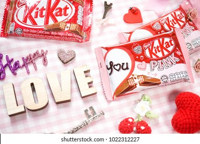 Bangkok, Thailand - January 21, 2018 : A photo of pink Kitkat top view. KitKat is Nestle product, launched for Valentine's campaign. Editorial use only.