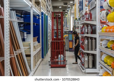 Bangkok, Thailand - January 21, 2018 : Forklift and many types of safety tools products for sale in supermarket open daily