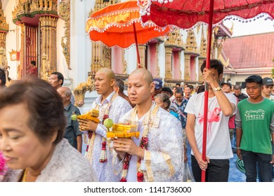 Bangkok, Thailand - January 21, 2018 : Ordination ceremony in buddhist Thai monk ritual for change man to monk in ordination ceremony in buddhist in Thailand