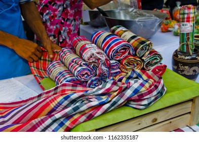 """Bangkok, Thailand - January 21, 2018 : Loincloth are the otop products for sale in """"Thailand Tourism Festival 2018"""" at Lumpini Park."""