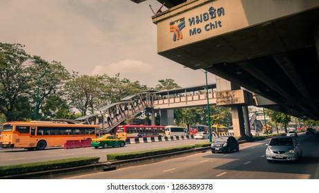 Bangkok, Thailand, January 21 2018 Mo Chit BTS, bts station mo chit of bangkok, traffic, buses, cars, taxi, people, stop bts to go to chatuchak market