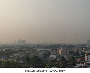 Bangkok, Thailand - January 21, 2019 : Air pollution in Bangkok from 2.5 pm dusk in the morning time.