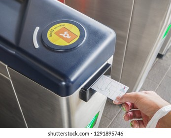 BANGKOK, THAILAND - JANUARY 21, 2019:  Passenger use BTS ticket to entrance in subway station.