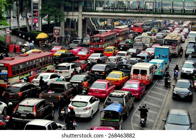 Bangkok, Thailand - January 22, 2013:  The city's legendary traffic stands bumper-to-bumper during the evening rush hour on Thanon Ratchaprasong