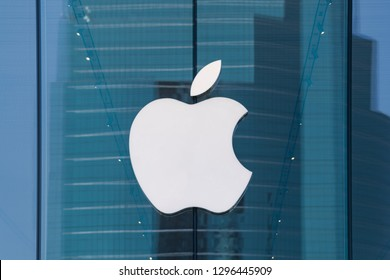 Bangkok, Thailand - January 22, 2019: Exterior view of Apple Store in Bangkok, Thailand, It is the first Apple Store in Iconsiam Bangkok, Thailand.