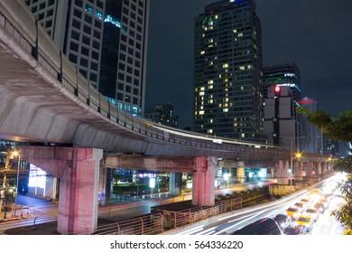 BANGKOK THAILAND - JANUARY 22 : city night in Chong Nonsi at night on January 22, 2017 in Bangkok Thailand