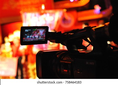 Bangkok, Thailand - January 24, 2012: View of a camera viewfinder LCD screen during celebrations of the Chinese New Year in the Thai capital's Chinatown district.