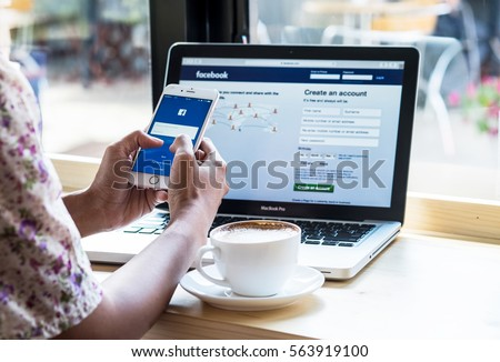 Bangkok. Thailand. January 24, 2016. A women holds Apple iPhone 6S with facebook application on the screen.facebook is a photo-sharing app for smartphones.