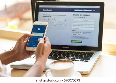 Bangkok. Thailand. January 24, 2016:A woman is typing on facebook search engine from a laptop. facebook is the biggest Internet search engine in the world.