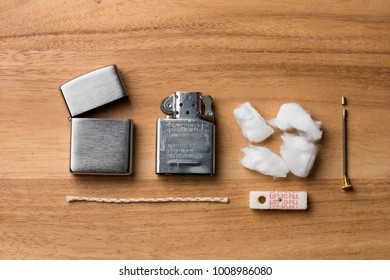 BANGKOK, THAILAND - JANUARY 24, 2018: Parts of Zippo lighter with windproof. Zippo lighters have gained popularity as windproof lighters.