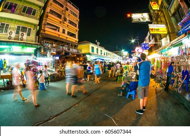 BANGKOK, THAILAND - JANUARY 24: View of the Khao san road at night on January 24, 2016 in Bangkok, Thailand.