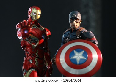 BANGKOK THAILAND - JANUARY 24,2017 : Close up shot of Captain America and Ironman ,Civil War superheros figure in action ,Captain america appearing in American comic books by Marvel.
