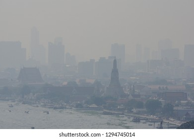 BANGKOK, THAILAND - JANUARY 25, 2019: The Wat Arun or Temple of Dawn with poor visibility due to PM2.5 particles exceeding acceptable standards.