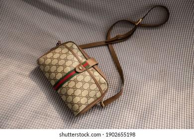 Bangkok, Thailand - January 25, 2021 : Gucci bag on fabric background.