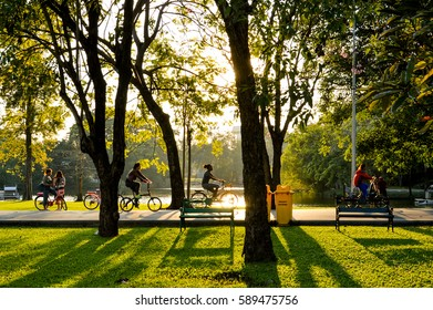BANGKOK, THAILAND - JANUARY 26, 2016: landscape of rot fai park in bangkok with the bicycle running in motion blur during sunset with shadow reflecting on the lawn.