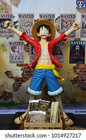 Bangkok, Thailand - January 27, 201: Human Size Model of Monkey D. Luffy from A Japanese Animation One Piece.