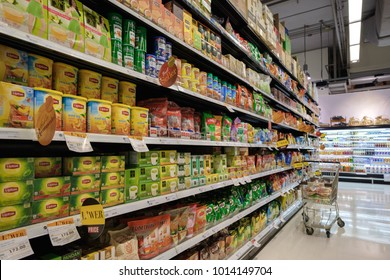 BANGKOK, THAILAND - JANUARY 27, 2018: Various of tea on shelf of Gourmet market at The Promenade Shopping Center in Bangkok. The Gourmet market is a grocery chain in Thailand.