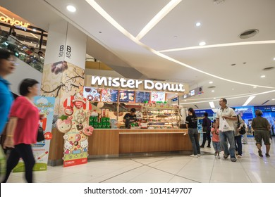 BANGKOK, THAILAND - JANUARY 27, 2018: Mister donut shop at Fashion Island Shopping Mall in Bangkok, Thailand. The Shopping Mall located on Ramintra Road and once biggest mall in the world until 2004.
