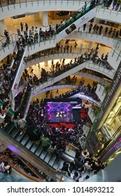 Bangkok, Thailand - January 27, 2018: Many Fan Club (OTA or Otaku) of BNK48 a Thai sister girl group of Japanese AKB48 surrounding all the floor to watch the mini concert.