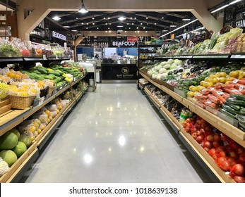 BANGKOK, THAILAND - JANUARY 27, 2018 : Fruit and vegetable are available in the night time in supermarket. However, nobody in the supermarket.