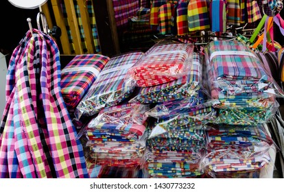 """Bangkok, Thailand - January 27, 2019 : Loincloth are the OTOP products for sale in """"Thailand Tourism Festival 2019"""" at Lumpini Park."""