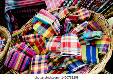 """Bangkok, Thailand - January 27, 2019 : Mobile phone bag made from Loincloth are the OTOP products for sale in """"Thailand Tourism Festival 2019"""" at Lumpini Park."""