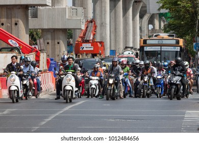Bangkok, Thailand - January 28, 2018: Traffic jam at Ratchayothin crossroads in the rush hours