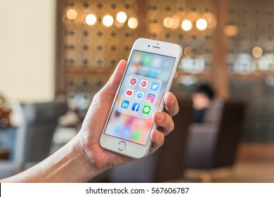 BANGKOK, THAILAND - January 29, 2017: Social media app icons on Iphone 7 screen smartphone with mobile internet technology in digital lifestyle.