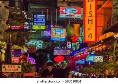 Bangkok, Thailand - January 29, 2017: Tourist visited Patpong, internationally known as a red light district at the heart of Bangkok's sex industry, Patpong also well known as the popular night market