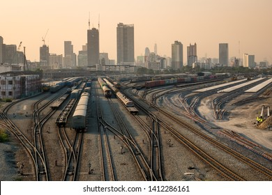 Bangkok / Thailand -  January 29 2019 : View of railway tracks In the Construction site of Bangsue grand station Bangkok metropolitan ,largest railway station in Southeast Asia