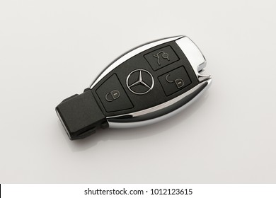 BANGKOK, THAILAND -January 29,2018:Mercedes Benz key on white background.