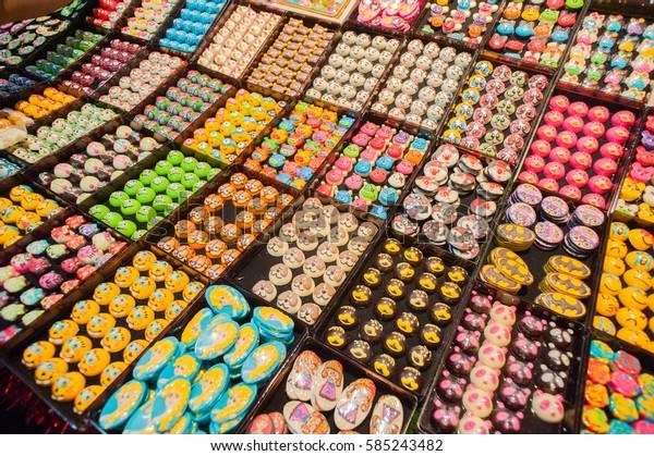 BANGKOK THAILAND â?? January 30 2017 : Colorful delicious chocolate variety beautiful shape at the shop In Bangkok of Thailand.