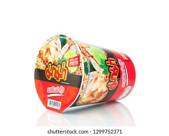 BANGKOK THAILAND - January 30, 2019 : Mama Tomyum Flavour instant cup noodles isolated on white background.