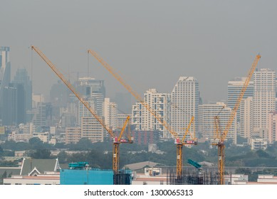 Bangkok, Thailand - January 30, 2019 : Cityscape of Bangkok city with smog PM2.5 dust exceed the standard value of Bangkok city with bad weather air pollution cause poor visibility and health hazards