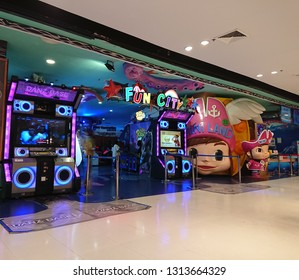 Bangkok, Thailand. January 30, 2019 - indoor playland for kids and teenagers in shopping mall.