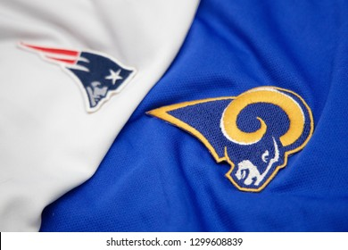 BANGKOK, THAILAND- JANUARY 30: Logo of NFL TeamsNew England Patriots and Los Angeles Rams on the Clothes for the LIII Super Bowl 2019 on JANUARY 30,2019