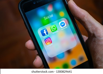 Bangkok, Thailand - January 31, 2019: iPhone 7 showing its screen with Facebook, WhatsApp, Messenger and Instagram application icons.