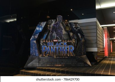 Bangkok, Thailand - January 4, 2018: Beautiful Standee of A Marvel Superhero Movie Black Panther Display at the theater.
