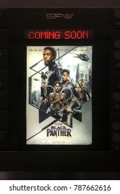 Bangkok, Thailand - January 4, 2018: Poster of A Marvel Superhero Movie Black Panther Display at the theater.