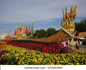 Bangkok, Thailand. January 4, 2019 - ananta nakkharat, thai royal barge display at Suan Amporn garden, near Dusit palace, Bangkok.