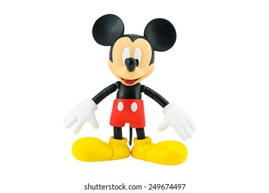 Bangkok, Thailand - January 5, 2015: Mickey Mouse action figure the official mascot of The Walt Disney Company. Mickey Mouse is a funny animal cartoon character was created by Walt Disney studio.