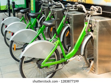 BANGKOK, THAILAND - January 5, 2019:  Bicycles for rent. Pun Pun Green bicycle sharing system encourage cycling in the heart of the city. Bicycle Rental Service in Bangkok, Thailand. - Image.