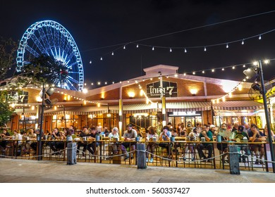 BANGKOK THAILAND - JANUARY 5: Outdoor Restaurant in Asiatique The riverfront in night time in Bangkok, on January 5, 2017 in Bangkok, Thailand.