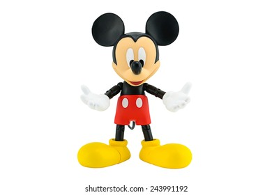 Bangkok, Thailand - January 6, 2015: Mickey Mouse action figure the official mascot of The Walt Disney Company. Mickey Mouse is a funny animal cartoon character was created by Walt Disney studio.