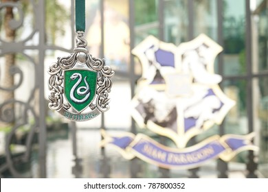 Bangkok, Thailand - January 6, 2018: A photo of Harry Potter's merchandise and souvenir from Slytherin house crest metal ornament, Harry Potter's movie props, Siam Paragon, Bangkok. Editorial use only