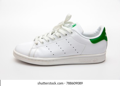 BANGKOK, THAILAND - JANUARY 6, 2018 : Adidas stan smith classic shoes  popular fashion thailand isolated on white background.